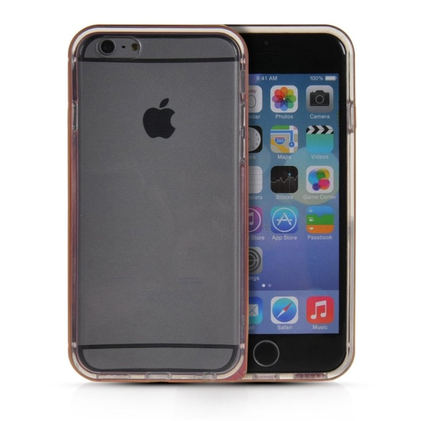 MOONCASE Case Cover Aluminum Bumper Frame + TPU Silicone Slim Back Phone Case Cover for iPhone 6 Pink
