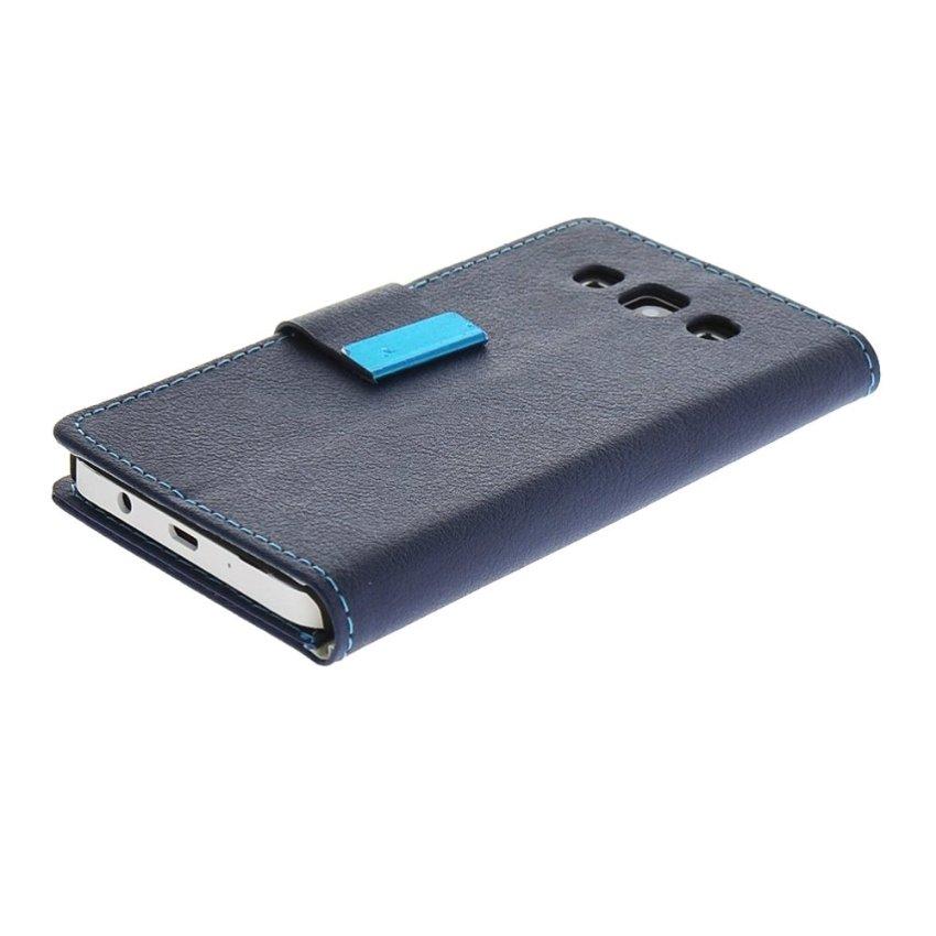 MOONCASE Premium PU Leather Flip Wallet Bracket Case Cover for Samsung Galaxy A3 Blue