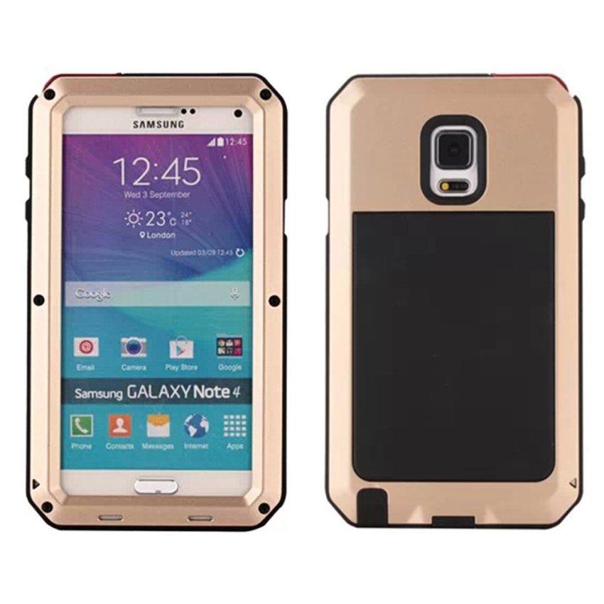 Moonmini Butterfly Waterproof Shockproof Dirtproof Snowproof Metal Case Cover for Samsung Galaxy Note 4 N9100 - Golden