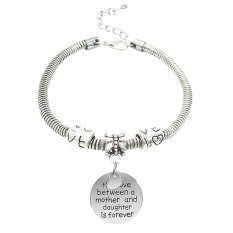 Mother And Daughter Silver Alloy Love Heart Round Charm Pendant Bracelet Jewelry Gift For Family Women