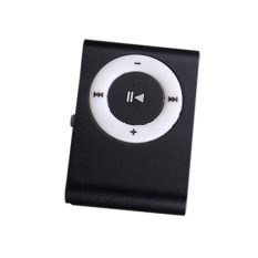 MP3 Player Metal Mini USB Clip MP3 Music Players With Micro (Black)