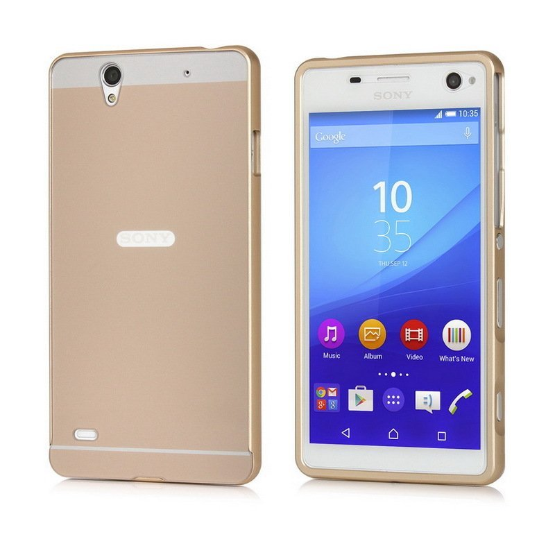 Msvii Metal Frame with Back Case for Sony Xperia C4 (Gold) (Intl)