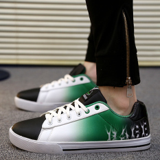 MT Fall And Winter Selling Inkjet Casual Shoes, Men's Fashion Personality Cool, Comfortable Wear Lace-up Shoes (Green And Black) - Intl