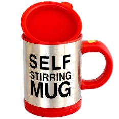 Mug - Self Stirring For Coffee Tea Chocolate - Gelas Pengaduk Otomatis - Merah