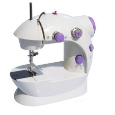 Multi-function Mini Portable Electric Sewing Machine White with Purple (Intl)
