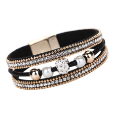 Multilayer Pearl Rhinestone Beaded Leather Bracelet Black - Intl