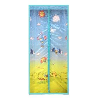 mychoice tirai kasa pintu magnet anti nyamuk hd biru