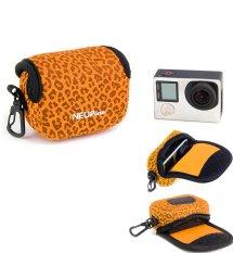 NEOPine Original Leopard Pattern Neoprene Soft Camera Case Bag For Gopro HERO3 HERO3 + HERO4 Sport Action Camera Protective Pouch Cover (Orange)
