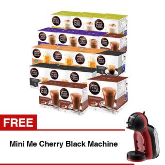 Nescafe Dolce Gusto 24 Box + Gratis Nescafe Mini Me Mesin Kopi - Cherry Black
