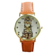 Neutral Diamond Lovely Cats Face Faux Leather Quartz Watches (Brown)