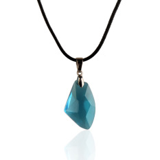 New Blue Wishing Stone Crystal Pendant Necklace Adjust Length Leather Chain