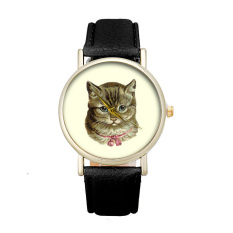 New Cat Pattern Women's Watch Fashion Cute Printed Girl Dress Watches (Black)