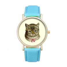 New Cat Pattern Women's Watch Fashion Cute Printed Girl Dress Watches (Blue)