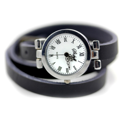 New Fashion Hot-selling Women's Long Leather Female Watch ROMA Vintage Watch Women Dress Watches (Black)