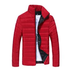 New Fashion Mens Winter Slim Fit Jacket Padded Coat Overcoat Parka (Red)