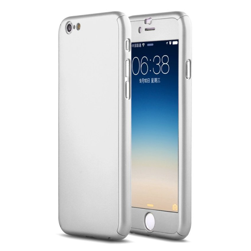 New Front + Back Hard Case Cover Full Body with Tempered Glass for iPhone 6 Plus 5.5 Silver (Intl)