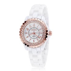 New Luxury Skone Brand Women Imitation Ceramic Rhinestone Imported Japan Quartz Watch (Gold) - Intl