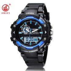 New Ohsen Watch Men Analog Watch LED Date Alarm Silicone Analog Digital Men's Sports Outdoor Quartz Wrist Military Watch Gift Blue - Intl