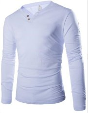 New Simple Solid Man V Collar Shirt All-match Long Sleeved T-shirt White (Intl)