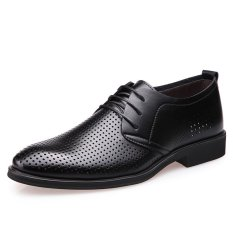 New Summer Men's Business Casual Leather Shoes (Black) - Intl