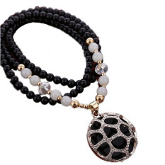 New Upscale Beads Retro Sweater Chain Carved Long Necklace Pendant All-Match Korean Fashion Circular - Intl