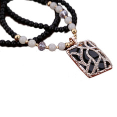 New Upscale Beads Retro Sweater Chain Carved Long Necklace Pendant All-Match Korean Fashion Rectangle - Intl