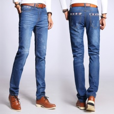 New Winter Jeans Men Fashion Blue Designer Mens Jeans Straight Slim Fit Ripped Jeans For Men Printed Jeans Without Belt