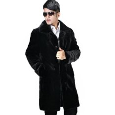 New Winter Men Faux Fur Coat Black Long Section Fashion Turn-Down Collar Luxurious Mink Parkas Thickening Warm Male Outerwear Plus Size S~4XL - Intl
