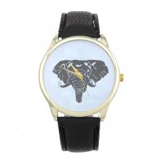 New Women Elephant Printing Pattern Weaved Leather Quartz Dial Watch (Black) (Intl)