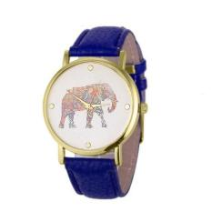 New Women Elephant Printing Pattern Weaved Leather Quartz Dial Watch Blue Free Shipping