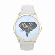 New Women Elephant Printing Pattern Weaved Leather Quartz Dial Watch (White) (Intl)