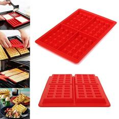 NiceEshop 4-Cavity Waffle Baking Molds DIY Mini Waffles Cake Chocolate Pan Silicone Tray Mold Muffin Mould Tool, Red
