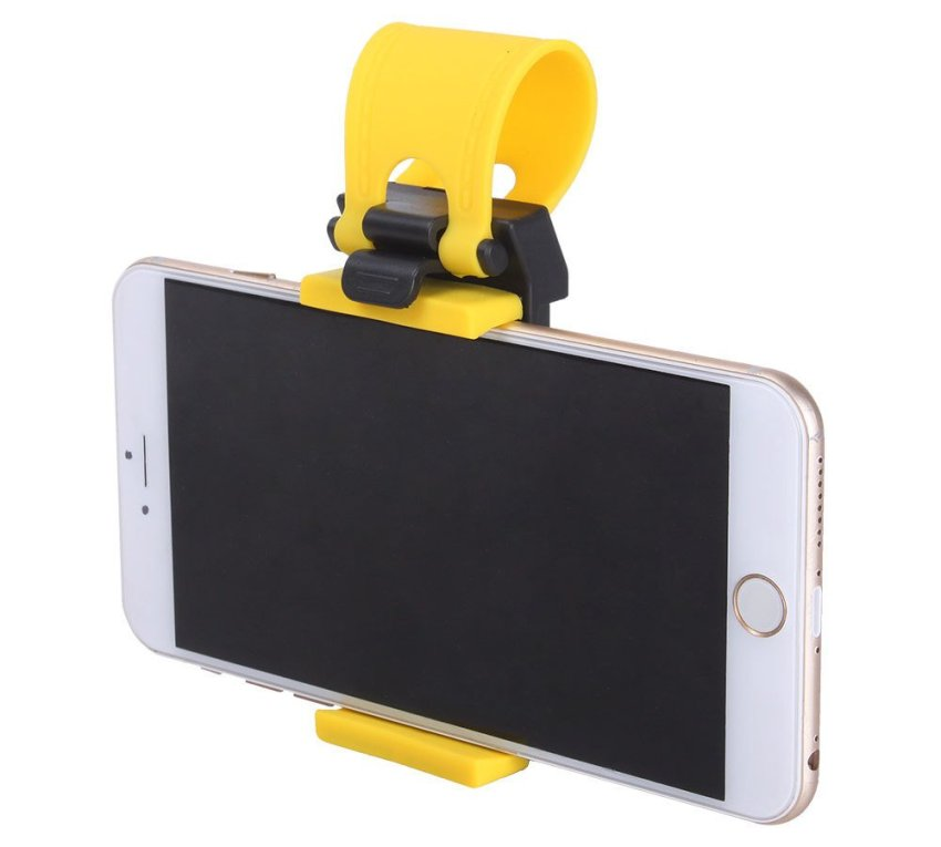 niceEshop Car Steering Wheel Mobile Phone Holder Mount Clip for iPhone 5 5G 4 4S Samsung Galaxy (Black and Yellow)
