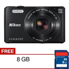 Nikon Coolpix S7000 Wifi/NFC Digital Camera - 16MP - 20X Optical Zoom - Hitam + SDHC 8GB