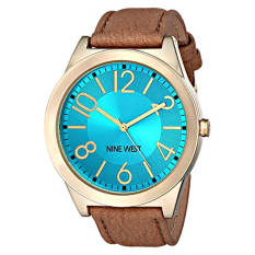 Nine West Women's NW / 1660TQCM Turquoise Dial Tan Leather Strap Watch (Intl)