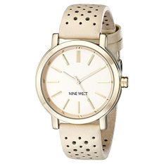 Nine West Women's NW / 1720NTNT Gold-Tone Watch With Tan Perforated Strap (Intl)
