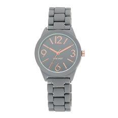 Nine West Women's NW / 1812GYRG Matte Grey Rubberized Bracelet Watch (Intl)