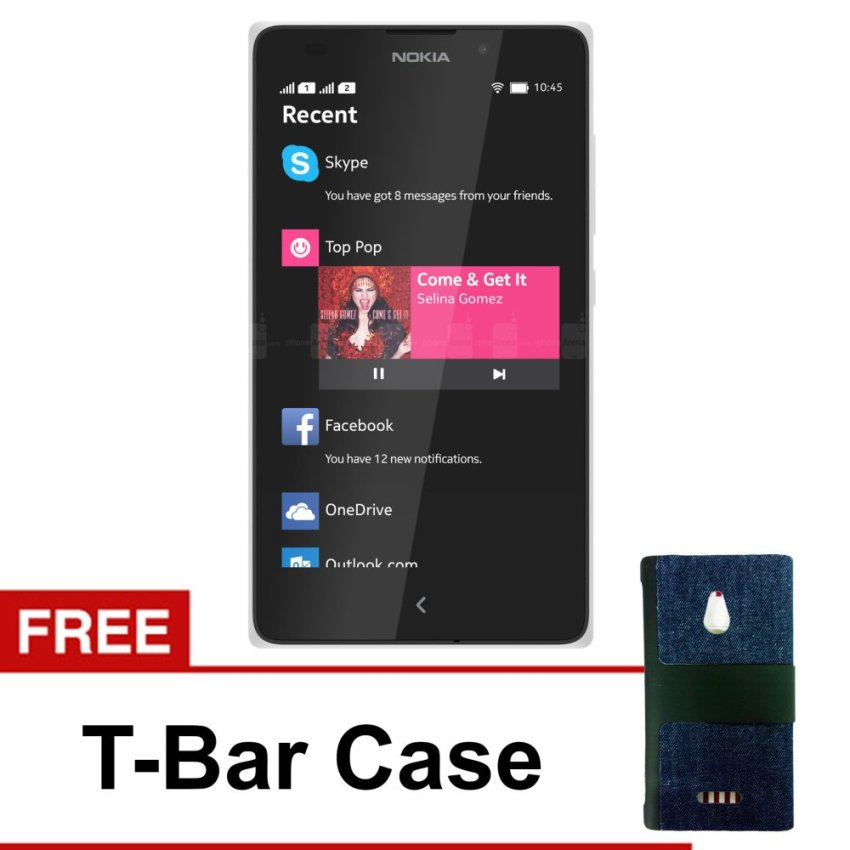 Nokia - XL Android - 4GB - Putih + Gratis T-Bar Case