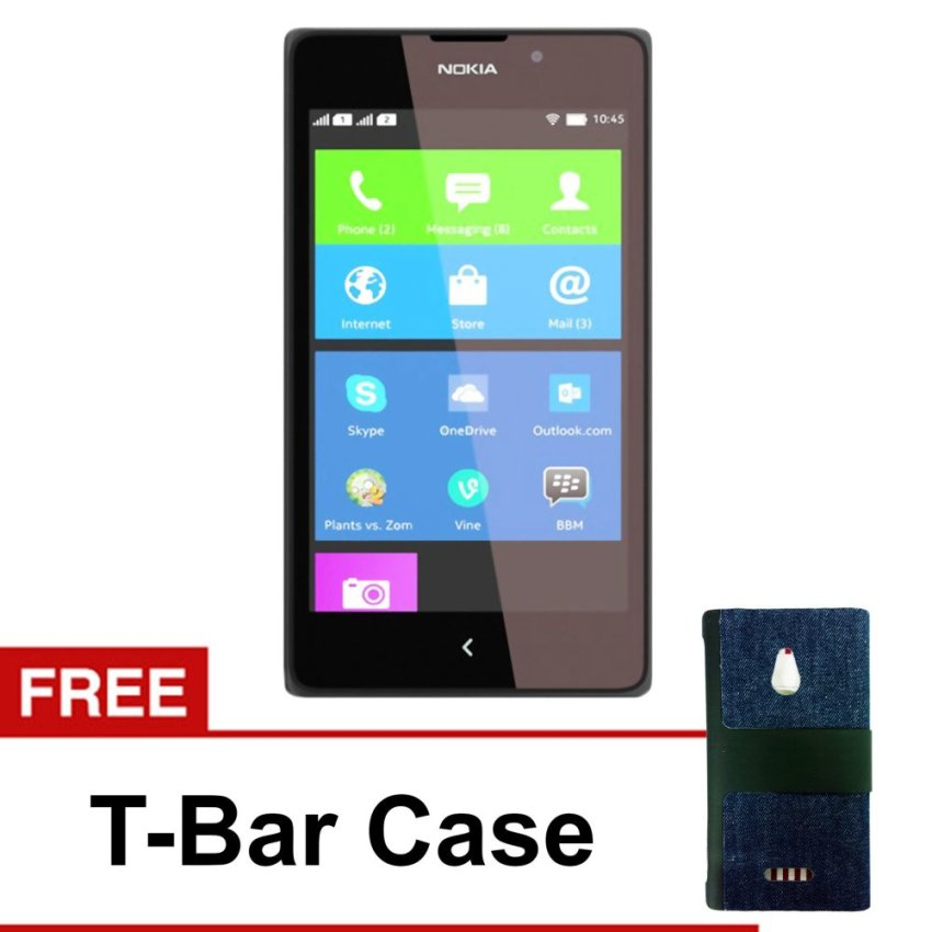 Nokia XL Dual SIM - Android - 4GB - Hitam + Gratis T-Bar Case