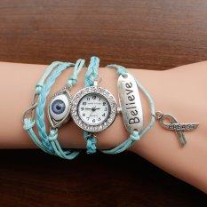 Nonof 2016 Brand Watches Women Rhinestone Creative PU Leather Strap Wristwatch Fashion Dress Bracelet Quartz Watch Shock Clock Gift (Light Blue Eye)