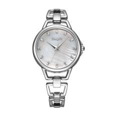Nonof YAQIN Fashion Bracelet Dress Women Luxury Quartz Watch Rhinestone Scale Rose Gold Alloy Band Watches Wristwatches (Silver White)