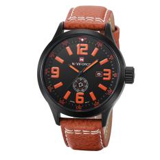 Nonvoful Naviforce Brand Leather Outdoor Sports Watch Waterproof Watch Tide Male Hip-hop Functionality Week 9057 (Orange)
