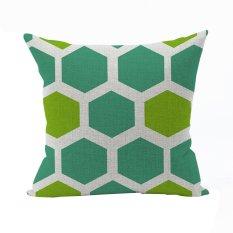 Nunubee Vintage Cotton Pillowcase Decorative Cushion Cover Square Home Pillowcase For Sofa Green 3 - Intl