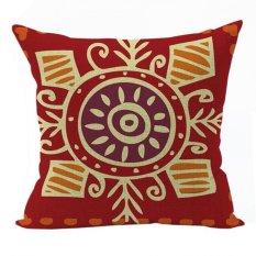 Nunubee Vintage Cotton Pillowcase Decorative Cushion Cover Square Home Pillowcase For Sofa Red - Intl
