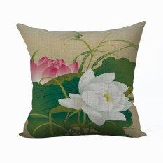 Nunubee Vintage Flower Pillow Cases Cotton Linen Cushion Cover Home Pillowcase Lotus Throw Pillow Style 12 - Intl