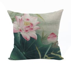Nunubee Vintage Flower Pillow Cases Cotton Linen Cushion Cover Home Pillowcase Lotus Throw Pillow Style 2 - Intl