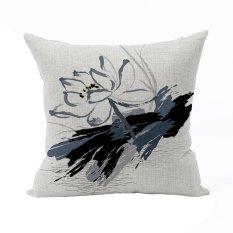 Nunubee Vintage Flower Pillow Cases Cotton Linen Cushion Cover Home Pillowcase Lotus Throw Pillow Style 5 - Intl