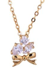 Oanda 18K Yellow Gold Plated White Rhinestone Bow Shape Pendant Necklace For Women