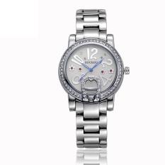 Oanda Sousou Spot New White Diamond Imitation Watches Exquisite Gold Diamond Bracelet Watch Ms. Ceramic Table (Silver)