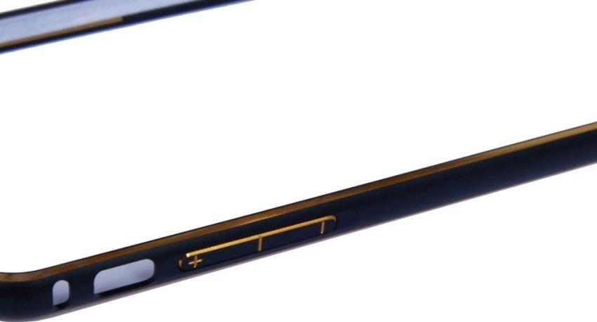 OEM Aluminium Screwless External Bumper Case for Apple iPhone 6 Plus - Hitam-Emas